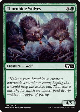 《茨隠れの狼/Thornhide Wolves》[M19] 緑C