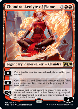《炎の侍祭、チャンドラ/Chandra, Acolyte of Flame》[M20] 赤R
