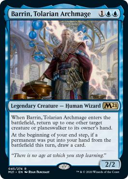 《トレイリアの大魔導師、バリン/Barrin, Tolarian Archmage》[M21] 青R