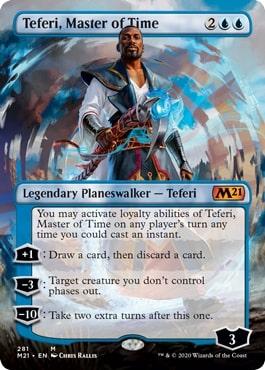 【Foil】281■拡張アート■《時の支配者、テフェリー/Teferi, Master of Time》[M21-BF] 青R