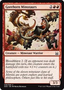 《血まみれ角のミノタウルス/Gorehorn Minotaurs》[MvM] 赤C
