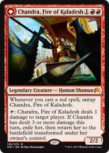 《カラデシュの火、チャンドラ/Chandra, Fire of Kaladesh》/《燃え盛る炎、チャンドラ/Chandra, Roaring Flame》[ORI] 赤R
