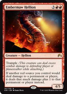 《燃えさし口のヘリオン/Embermaw Hellion》[ORI] 赤R