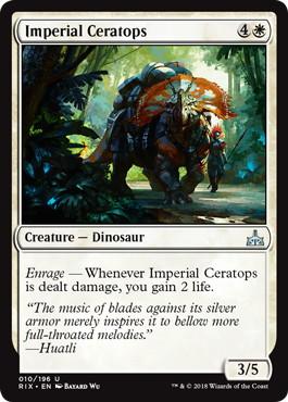 【Foil】《帝国のケラトプス/Imperial Ceratops》[RIX] 白U