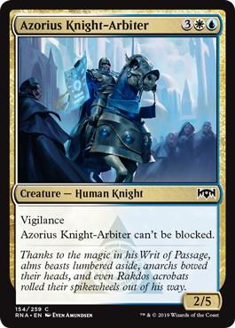 《アゾリウスの騎士判事/Azorius Knight-Arbiter》[RNA] 金C