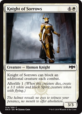【Foil】《悲しみの騎士/Knight of Sorrows》[RNA] 白C