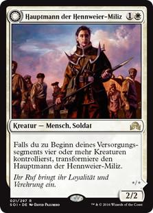 《ハンウィアーの民兵隊長/Hanweir Militia Captain》/《ウェストヴェイル教団の指導者/Westvale Cult Leader》[SOI] 白R