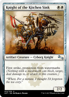 【Foil】《Knight of the Kitchen Sink》(watermarks) [UST] 白U