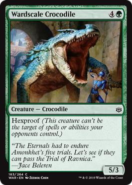 《護法鱗のクロコダイル/Wardscale Crocodile》[WAR] 緑C