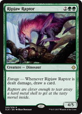 《切り裂き顎の猛竜/Ripjaw Raptor》[XLN] 緑R