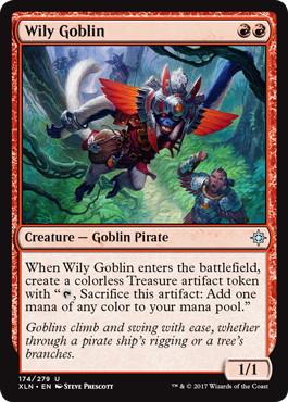 《ずる賢いゴブリン/Wily Goblin》[XLN] 赤U
