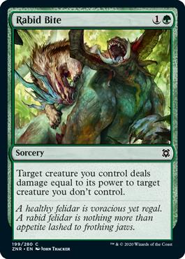 《狂気の一咬み/Rabid Bite》[ZNR] 緑C