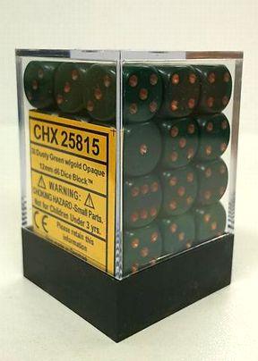 『Opaque』シリーズ 12ミリ6面ダイス(36個入り)Chessex社 Dusty Green/gold (25815)