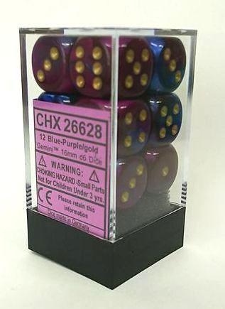 『Gemini』シリーズ16ミリ6面ダイス(12個入り)Chessex社 Blue-Purple/Gold (26628)