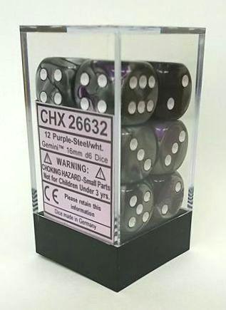 『Gemini』シリーズ16ミリ6面ダイス(12個入り)Chessex社 Purple-Sreel/White (26632)