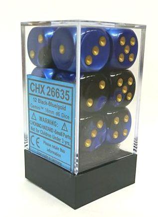 『Gemini』シリーズ16ミリ6面ダイス(12個入り)Chessex社 Black-Blue/Gold (26635)