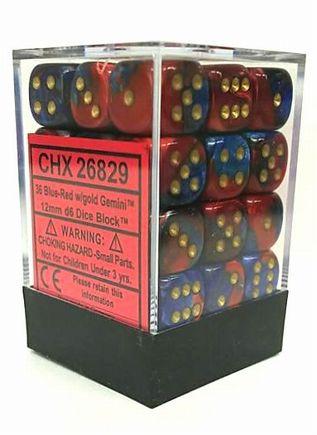 『Gemini』シリーズ12ミリ6面ダイス(36個入り)Chessex社 Blue-Red/Gold (26829)