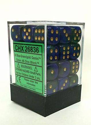 『Gemini』シリーズ12ミリ6面ダイス(36個入り)Chessex社 Blue-Green/Gold (26836)