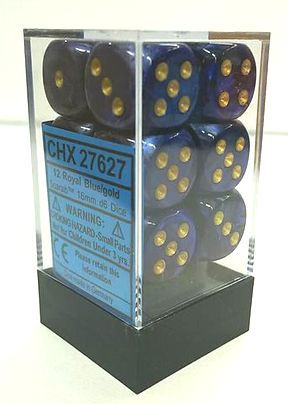 『Scarab』シリーズ 16ミリ6面ダイス(12個入り)Chessex社 Royal Blue/gold (27627)