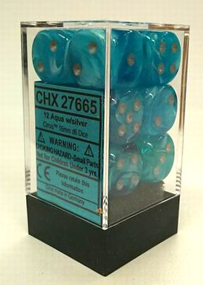 『Cirrus』シリーズ 16ミリ6面ダイス(12個入り)Chessex社 Aqua /silver (27665)