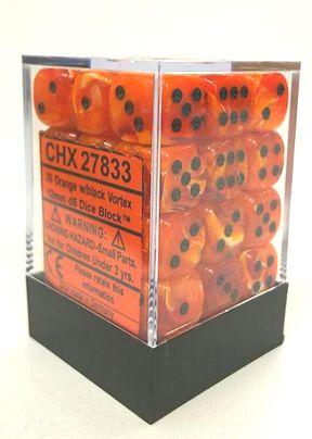 『Vortex』シリーズ 12ミリ6面ダイス(36個入り)Chessex社 Orange /black (27833)